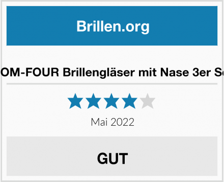 COM-FOUR Brillengläser mit Nase 3er Set Test